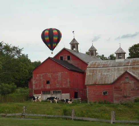 hot air balloon ride and special balloon marriage ceremony at Vermont inn