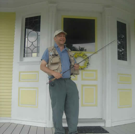 setting off to fish on the Lamoille River from the Governor's House, a Stowe VT, B&B