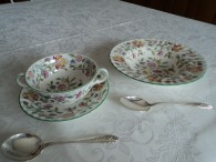 cream soup bowl with spoon and rim soup bowl with spoon