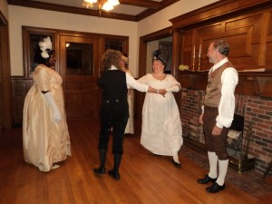 two couples English country dancing