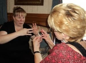 two women tatting