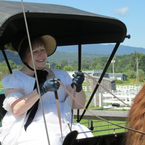 Mrs Bennet is driving the carriage