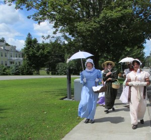 group of ladies in Regency attire taking a walk