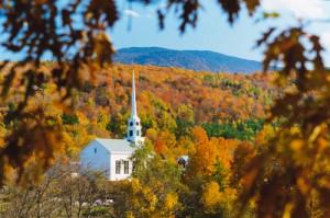 Stowe church in fall