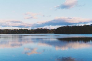 clouds reflected in a Vermont lake
