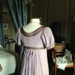 back of Regency ball gown