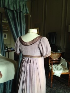 back of Regency ball gown