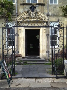 front door of Georgian house with gate