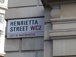 sign: Henrietta Street WC2