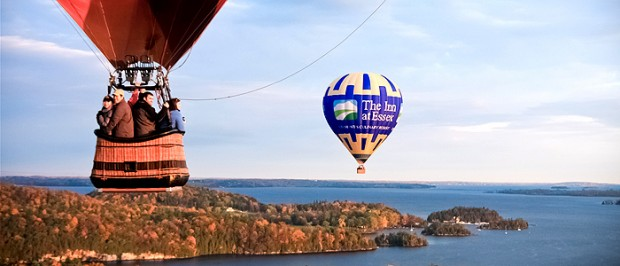 hot air balloon with Lake Champlaoin below