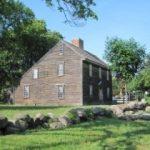 a New England salt box house, birthplace of John Adams