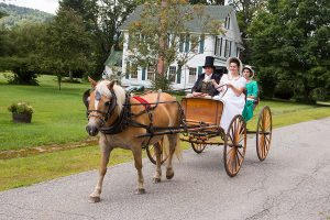 Carriage driving lesson in Regency period clothing